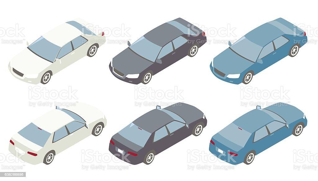 Isometric Cars Illustration vector art illustration