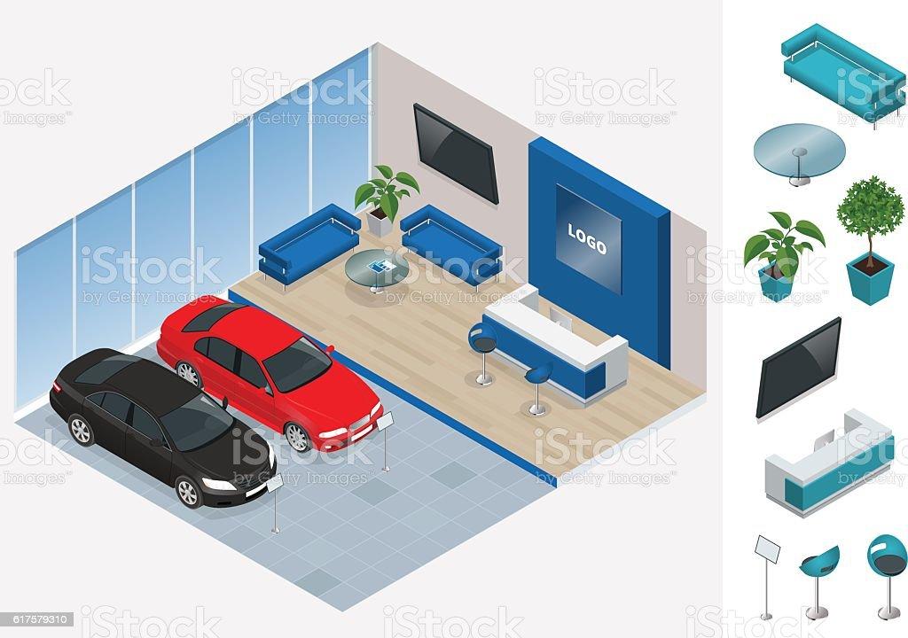 Isometric cars stand in car shop – Vektorgrafik
