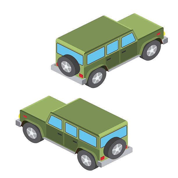 Isometric cars travel isolated on white. Isometric cars travel isolated on white. Summer family travel concept. Vector illustration. rv interior stock illustrations