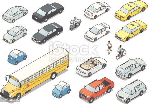 Isometric vehicles include various cars, convertible, subcompact, taxi, SUV, pickup, motorcycle, school bus, jogger and cyclist. Front and back. Illustrations do not represent specific vehicle makes or models.
