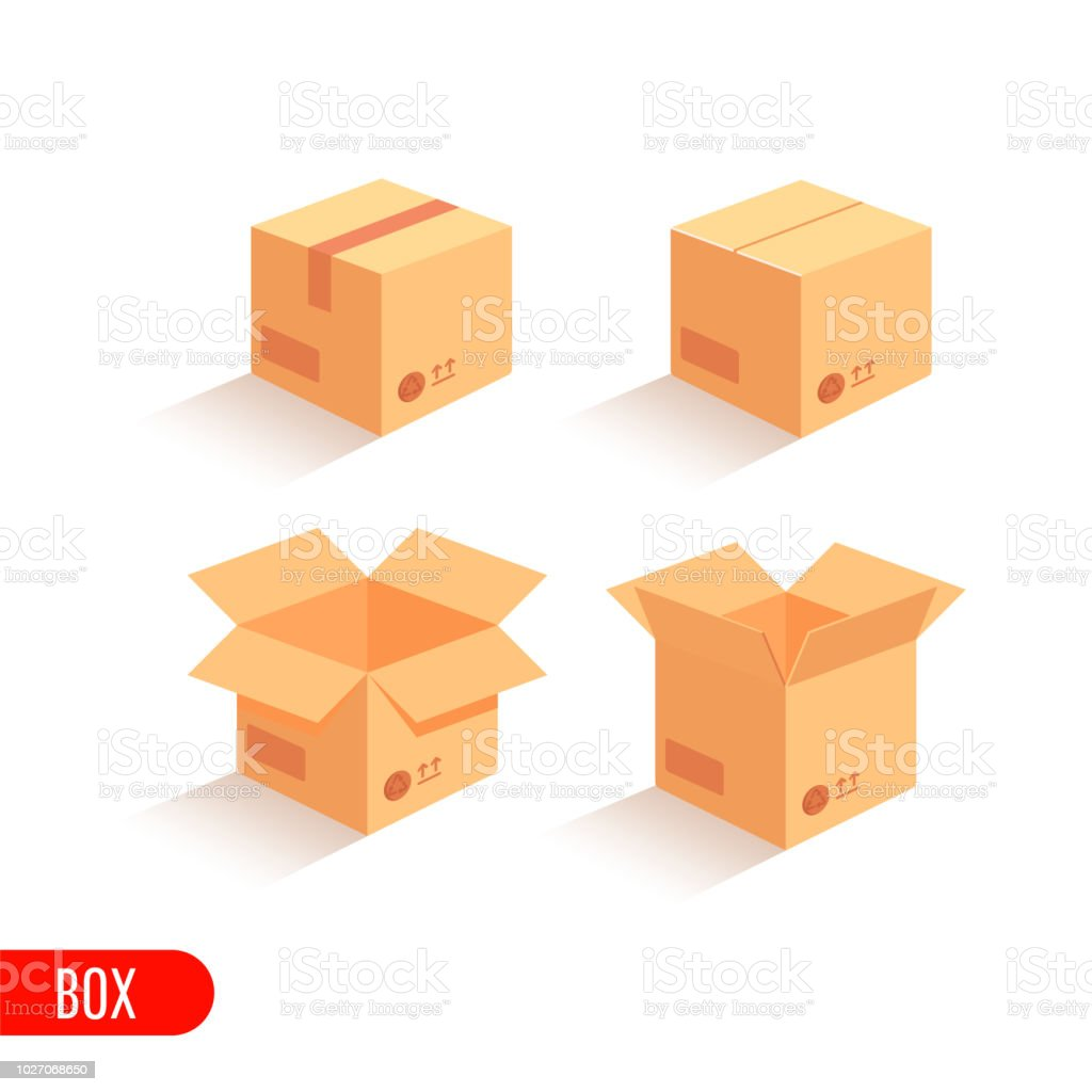 Set closed and open cardboard boxes on white background. Isometric...