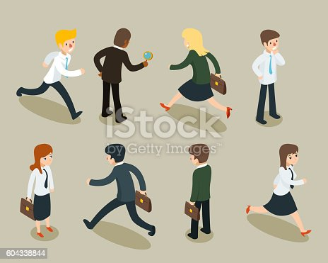 Isometric 3D cartoon businessmen and business women in vintage style. Businesspeople vector illustration