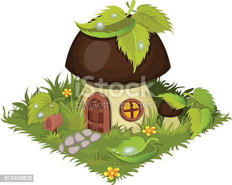 istock Isometric Cartoon Fantasy Mushroom Village House Decorated with Leaves - Elements for Tileset Map 670456826