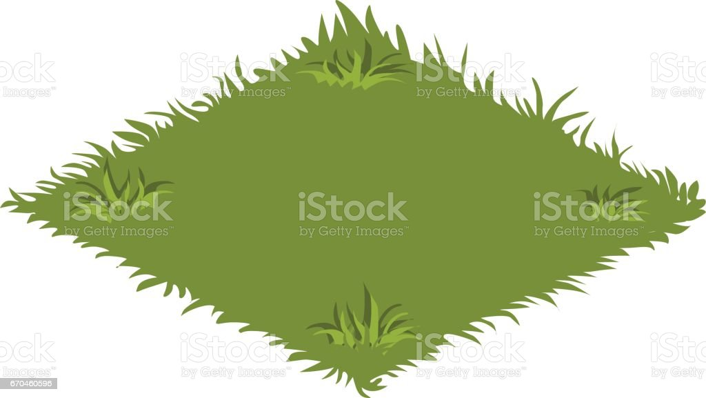 Isometric Cartoon Garden Lawn With Green Grass Elements For Tileset ...