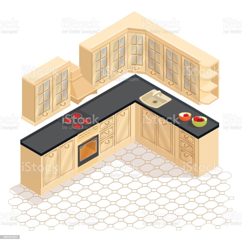 Ilustración de Icono De Muebles De Cocina Retro De Dibujos ...
