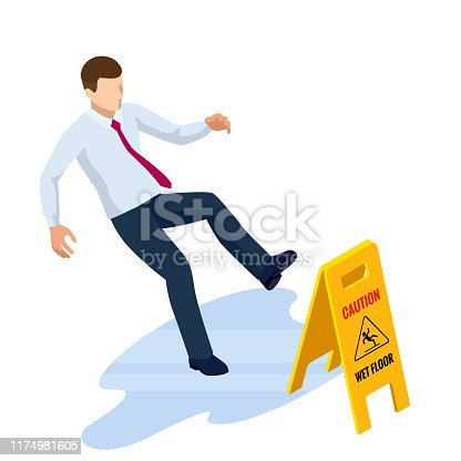 Isometric caution wet floor sign isolated on white background. The man slipped on the wet floor