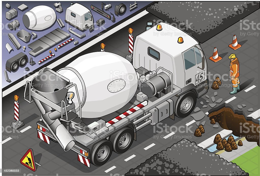 Isometric Cement Mixer Truck in Rear View royalty-free stock vector art