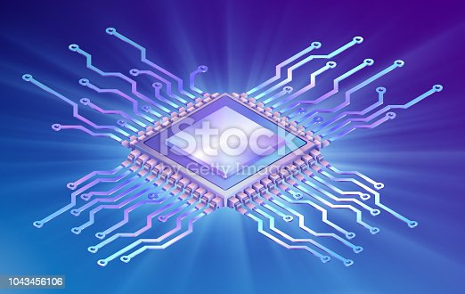 Illustration of microprocessor, isometric circuit board on colorful background with light. EPS 10 contains transparency.