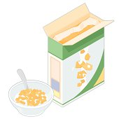 A vector illustration of an isometric Cereal Box with Bowl of flakes.