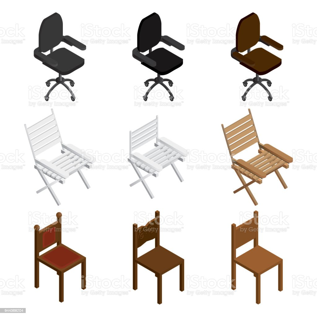 Isometric Chair Icon Set. Isometric Chairs Different Types. Vector.  Royalty Free Isometric