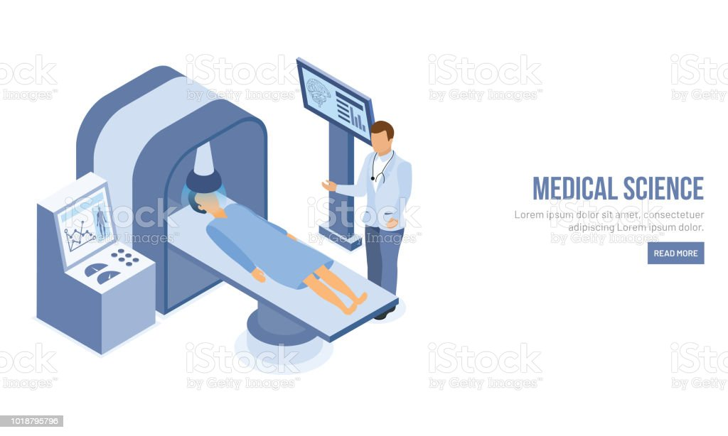Isometric character of doctor doing tomography of a patient for Medical Science landing page design. vector art illustration