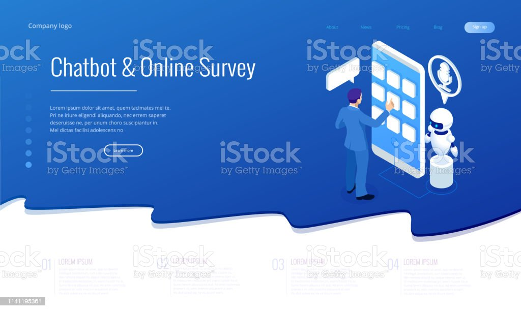 Isometric Chat Bot And Online Survey Online Exam