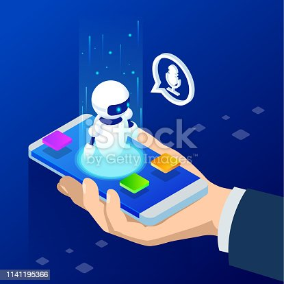 Isometric Chat bot and online survey. Online exam, questionnaire form, online education, internet quiz. Artificial intelligence. AI and business IOT concept