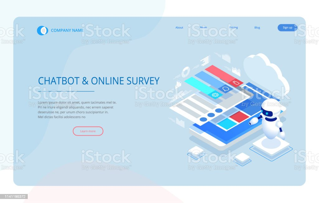 Isometric Chat Bot And Online Survey Online Exam Questionnaire Form