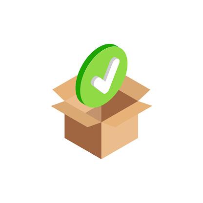 Isometric checkmark symbol in box