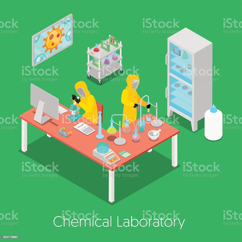 Isometric Chemical Research Laboratory vector art illustration