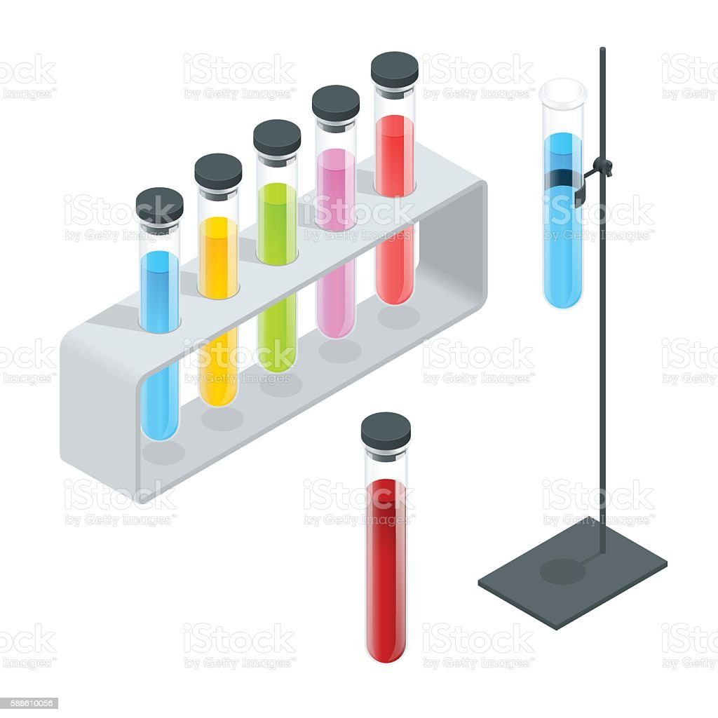 Isometric Chemical test tube set vector art illustration