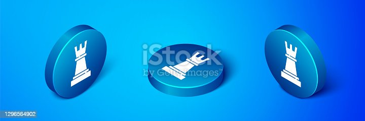 istock Isometric Chess icon isolated on blue background. Business strategy. Game, management, finance. Blue circle button. Vector 1296564902