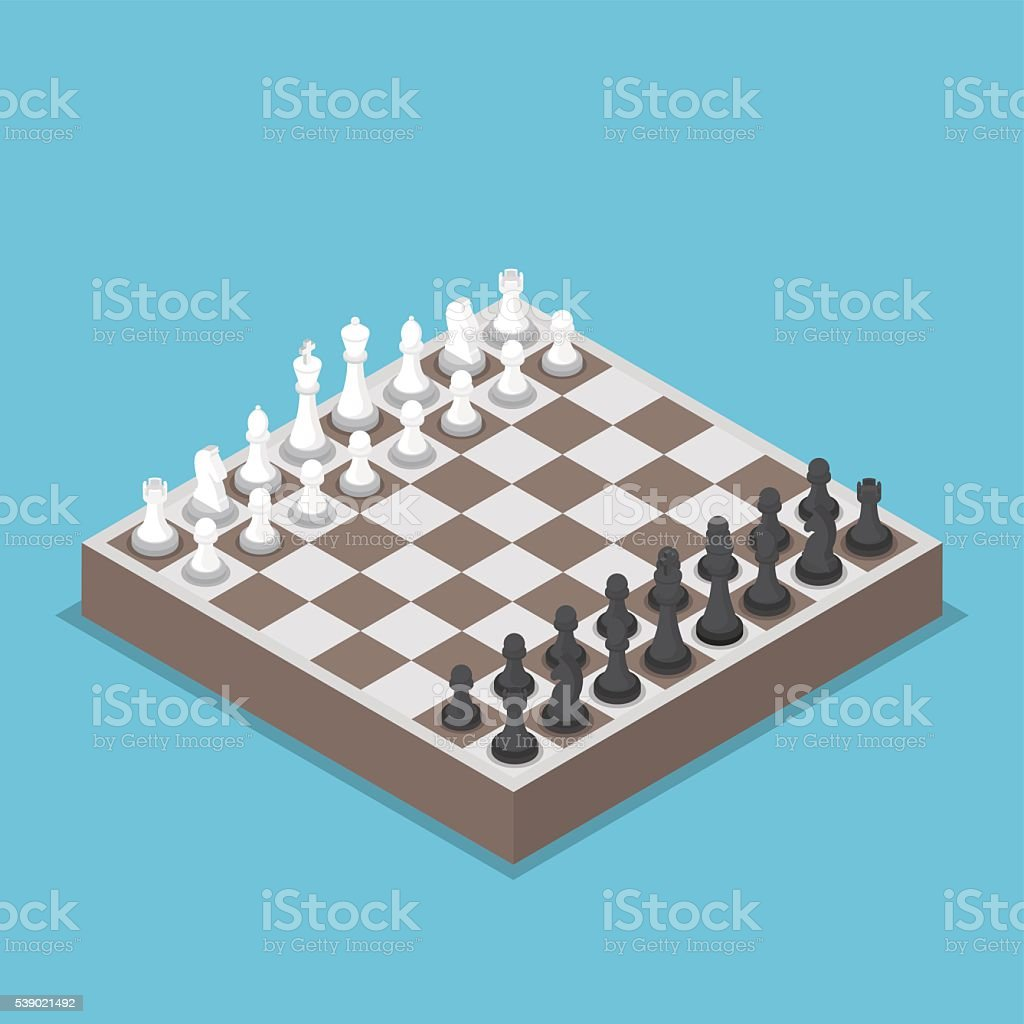 Isometric chess piece or chessmen with board vector art illustration