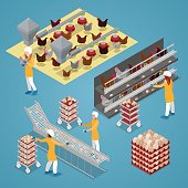 Isometric Chicken Farm Poultry. Organic Eggs Production Line