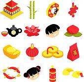 Isometric chinese new year party celebration holiday icons set flat design vector illustration