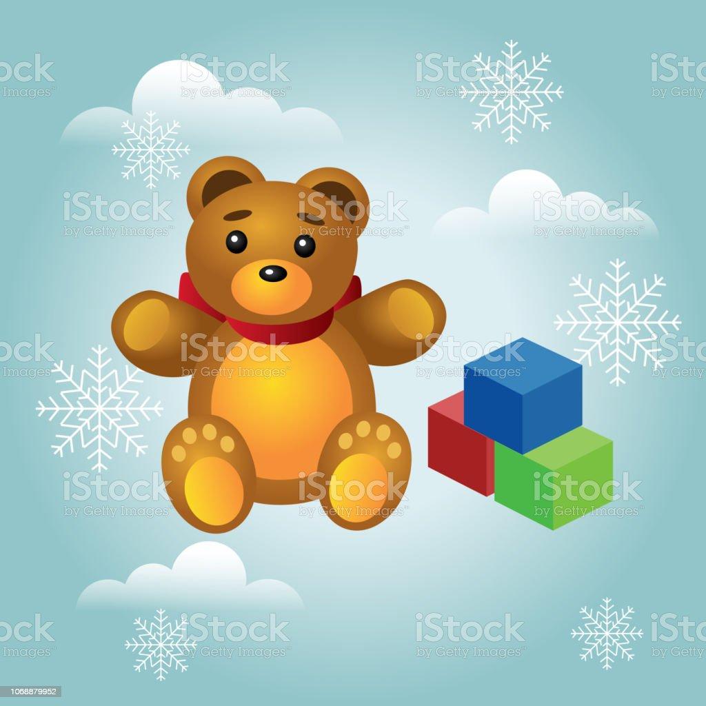 Isométrica Natal e ano novo presentes infantis e brinquedos. Ursinho fofo e cubos coloridos, isolados no fundo branco. Ilustração vetorial - ilustração de arte em vetor