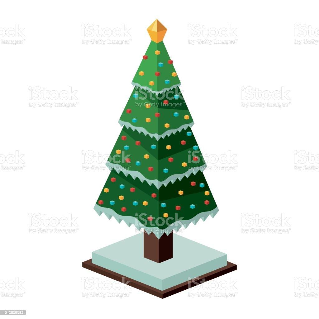 Diseno Isometrico Del Arbol Del Pino De Navidad Arte Vectorial - Arbol-navidad-diseo