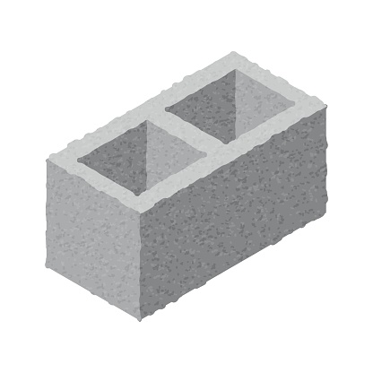 Isometric cinder block isolated on white background. Gray brick. Concrete building block icon. Construction. Flat 3d isometric vector cement block icon illustration.