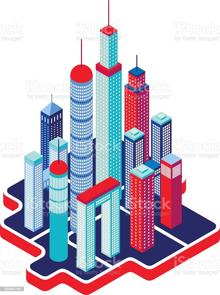Isometric City buildings and architecture Cityscape vector art illustration