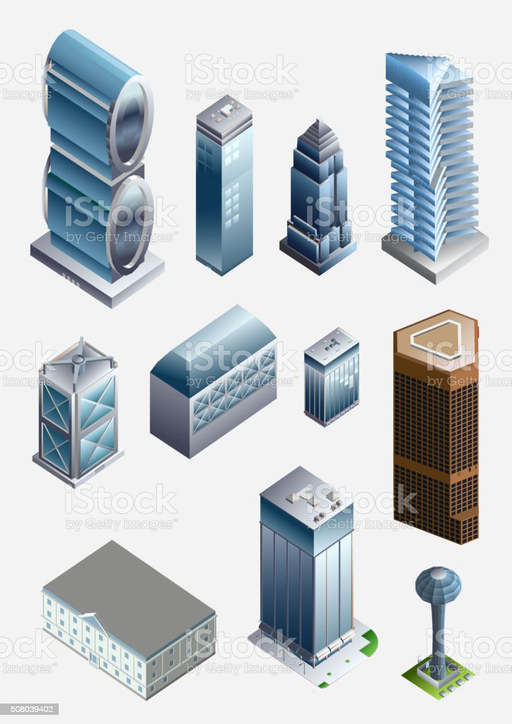 isometric city buildings. office, apartment, pool vector art illustration