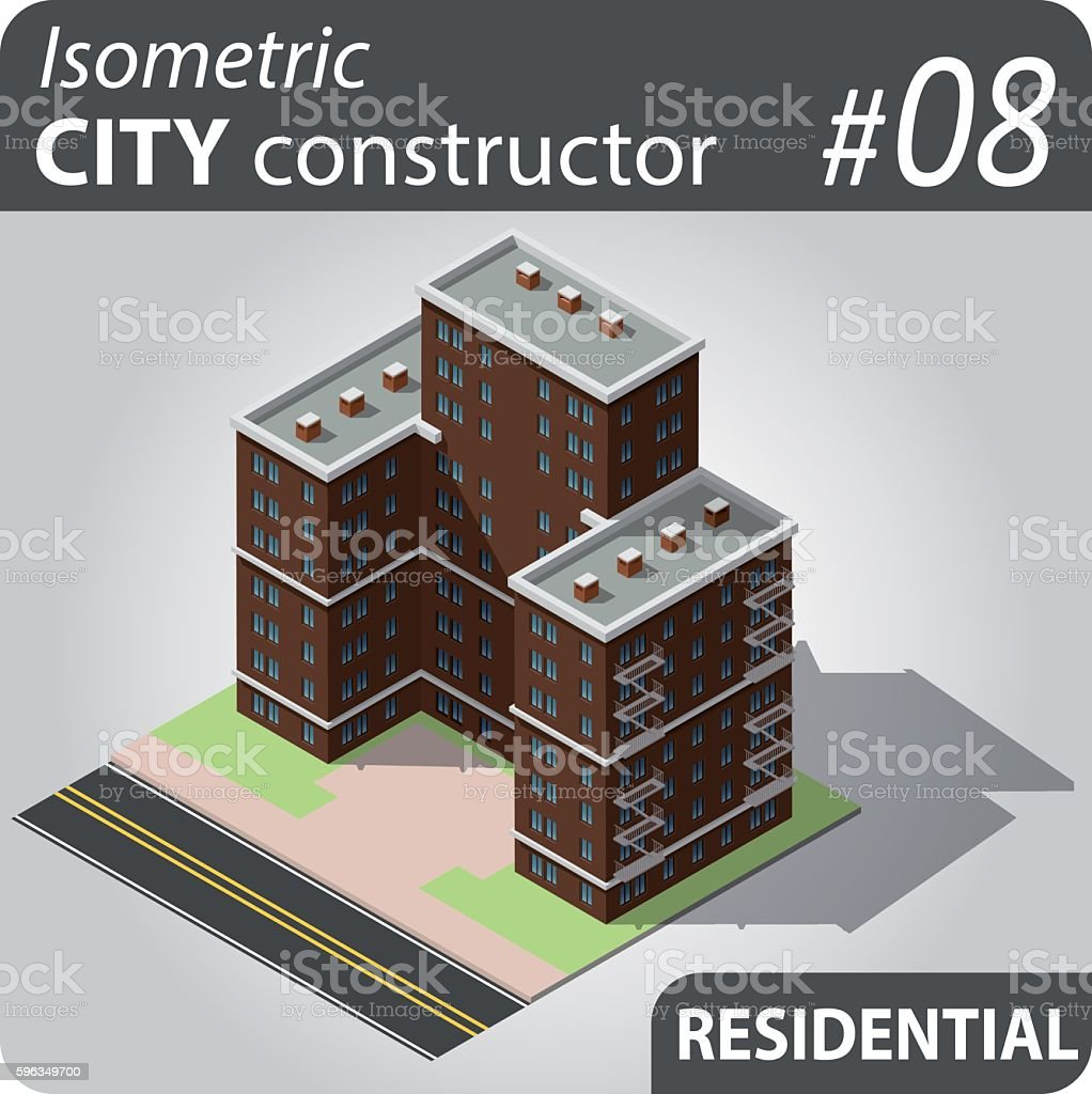 Isometric city constructor - 08 royalty-free isometric city constructor 08 stock vector art & more images of apartment