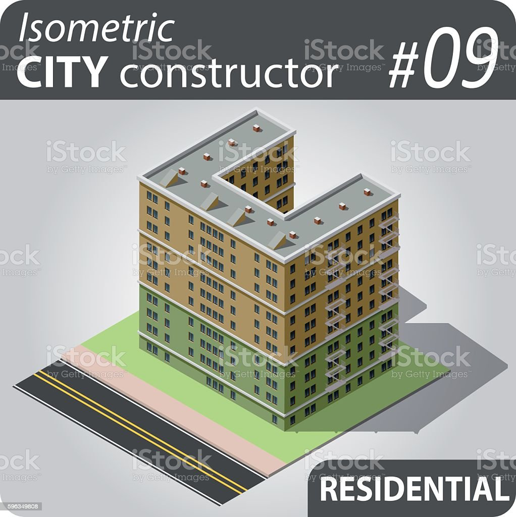 Isometric city constructor - 09 royalty-free isometric city constructor 09 stock vector art & more images of apartment