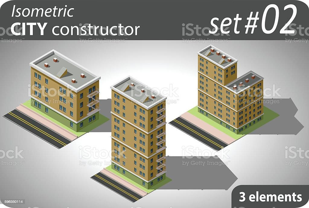 Isometric city constructor. Set - 01 royalty-free isometric city constructor set 01 stock vector art & more images of apartment