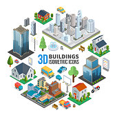 Isometric city landscape round concept with modern buildings skyscrapers estates transport benches trees trash fountain vector illustration