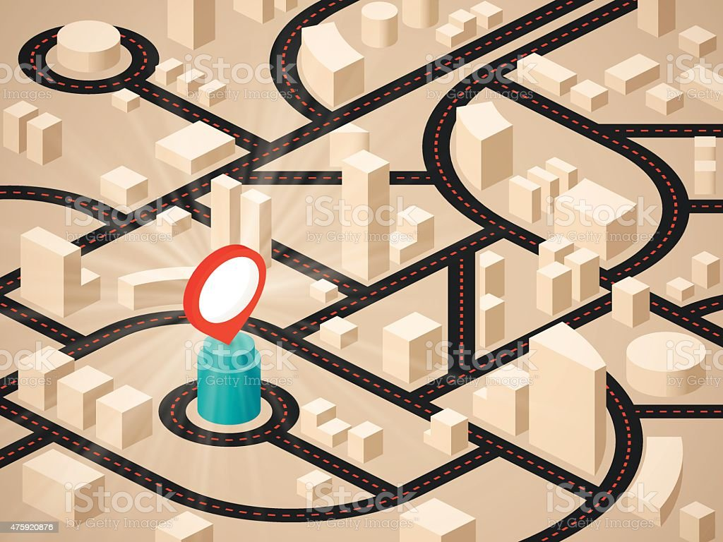 Isometric City Location and Roads vector art illustration
