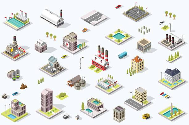 Isometric City Map Collection vector art illustration
