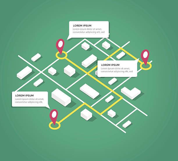 ilustrações, clipart, desenhos animados e ícones de isometric mapa da cidade de elementos de design - shopping