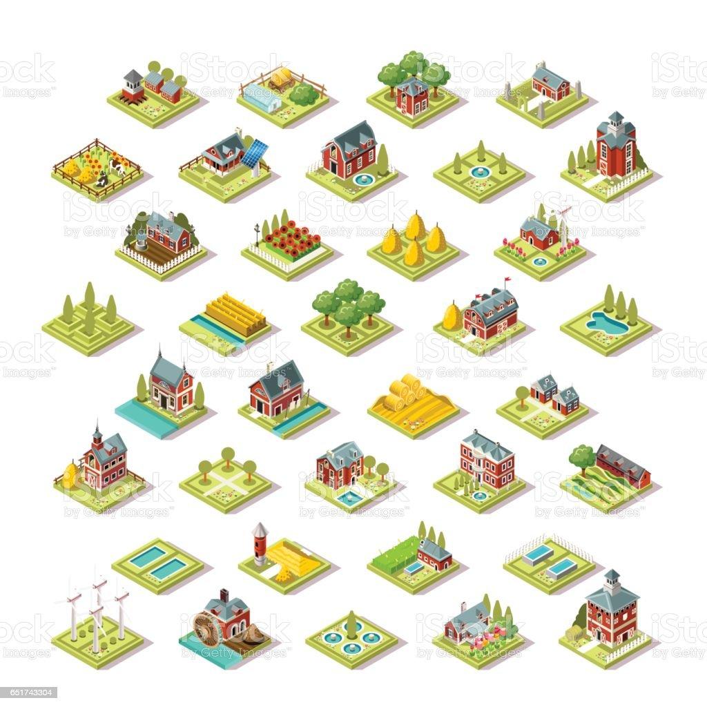 Isometric City Map Farm Building Icon Set Vector Illustration vector art illustration