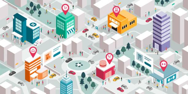 ilustrações, clipart, desenhos animados e ícones de mapa isométrico da cidade com povos, edifícios e ponteiros do pino - city