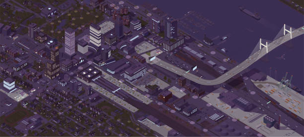 Isometric City Night vector art illustration