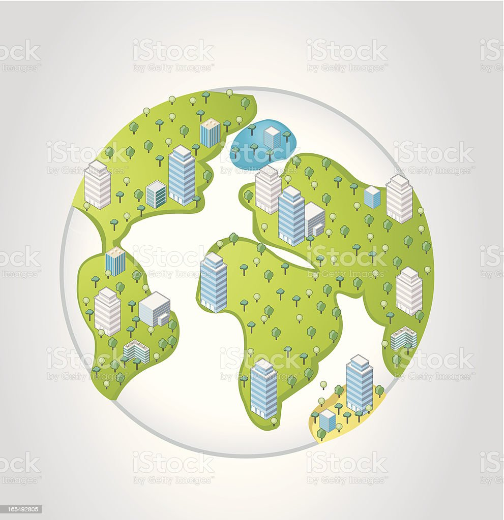 isometric city over earth planet royalty-free stock vector art