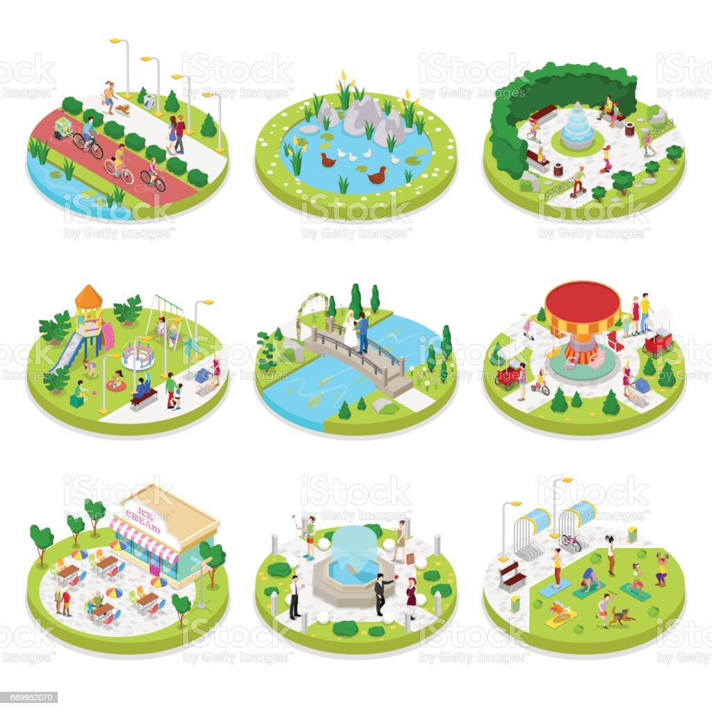 Isometric City Park with Walking People
