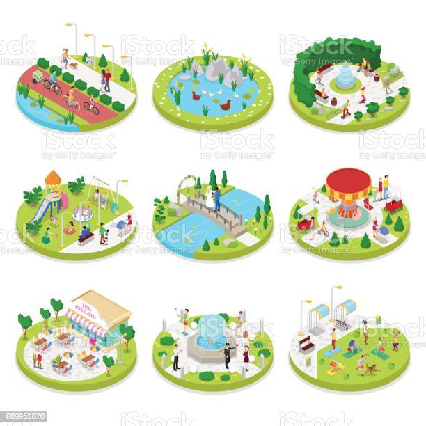 Isometric city park with walking people vector id689952070?b=1&k=6&m=689952070&s=612x612&h=a apxuhff9ynfqvfk u ee2fpebbhpvrlnc2oylrw28=