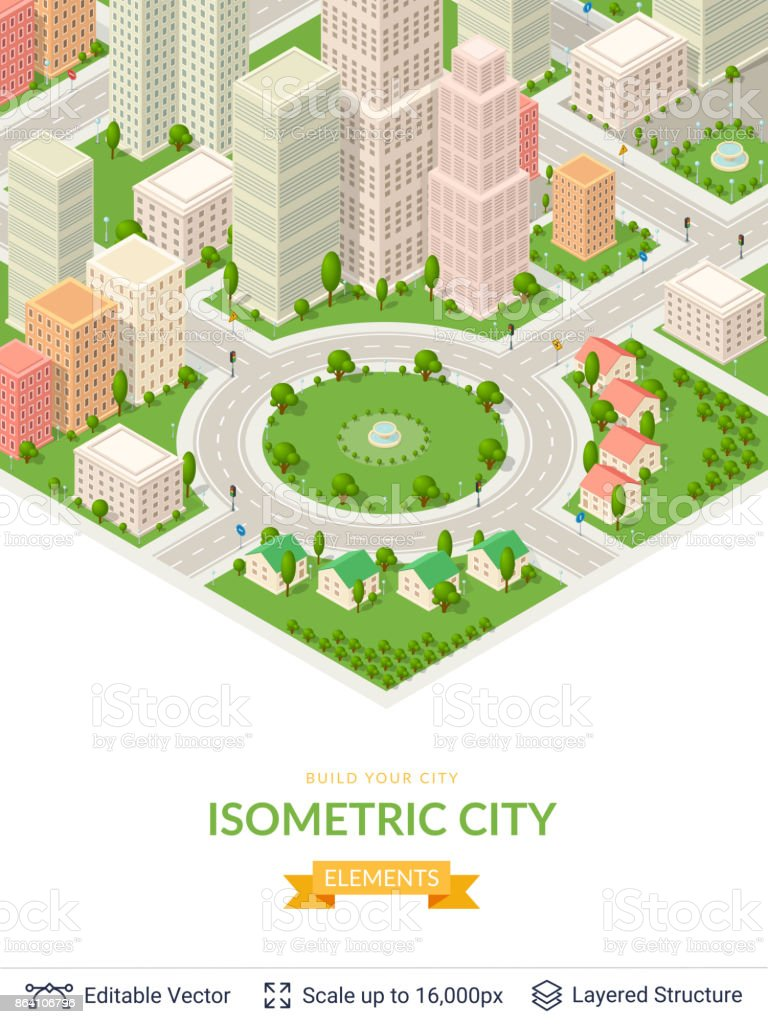 Isometric city popular structures. royalty-free isometric city popular structures stock vector art & more images of abstract