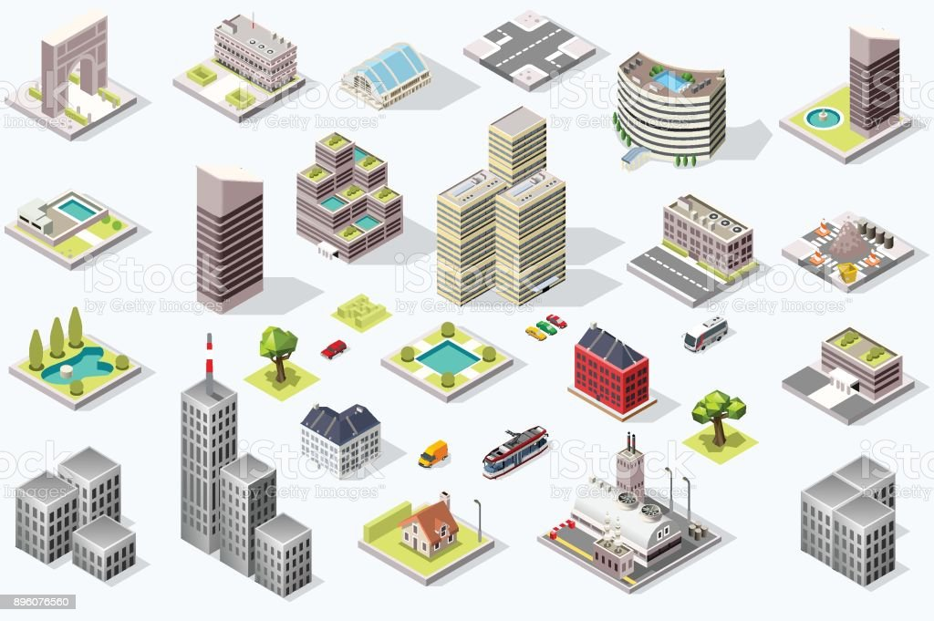 Isometric City Quality Vector Set - Royalty-free Architecture stock vector