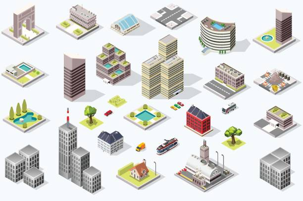 isometric city quality vector set - 3d icons stock illustrations, clip art, cartoons, & icons