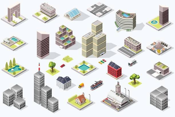 Conjunto de vetor de qualidade cidade isométrico - ilustração de arte em vetor