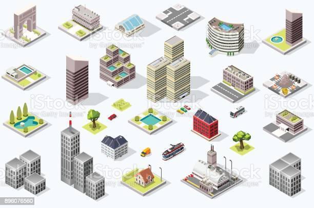 Vetores de Conjunto De Vetor De Qualidade Cidade Isométrico e mais imagens de Imagens Estereoscópicas