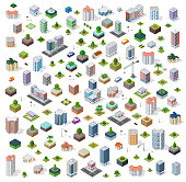 Isometric city set street