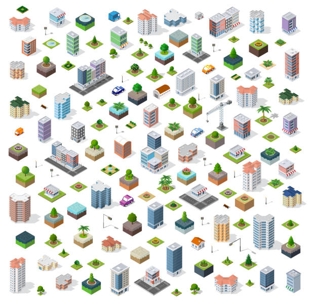 Isometric city set street Isometric city set street road traffic cars. Infrastructure landscapes urban economy. town stock illustrations